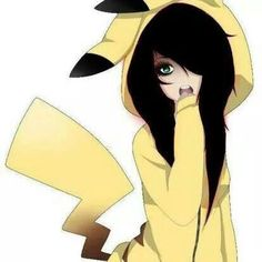 anime-cute-emo-girl pikachu