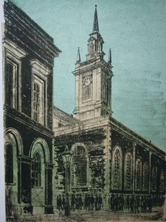 """St Lawrence Jewry"" (City Series) by Robert Tavener, c. 1978 (lithograph)"