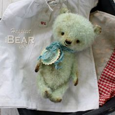 RESERVED for hhseight. Happy little collectable HMA mohair bear by Vivianne Galli.. $219.00, via Etsy.