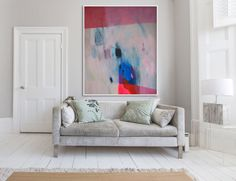 """Large abstract print, red and blue giclée print of painting,  """"The Red Stiletto Girl"""" by LolaDonoghue on Etsy https://www.etsy.com/listing/219117801/large-abstract-print-red-and-blue-giclee"""