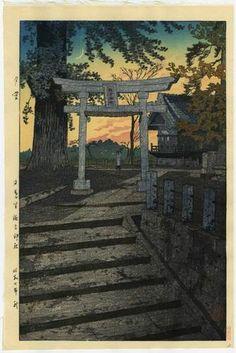 Kasamatsu Japanese Woodblock Print Evening SKY1932 | eBay