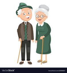 Of grandparents Royalty Free Vector Image - VectorStock Old Couples, Cute Couples, Paar Illustration, Grandparents Day Crafts, Human Dimension, Watercolor Kit, Cartoon People, Cartoon Sketches, Couple Cartoon