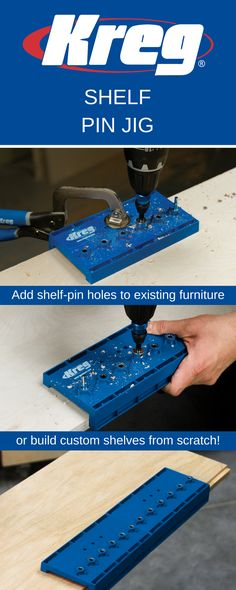 If you're adding shelf pin holes to an existing piece of furniture or building shelves from scratch, the Shelf Pin Jig is the perfect tool for the job. Unlike other shelf pin guides, the Kreg Shelf Pin Jig features hardened-steel drill guides that ensure precise and straight drilling, so you'll get level, wobble-free shelves.