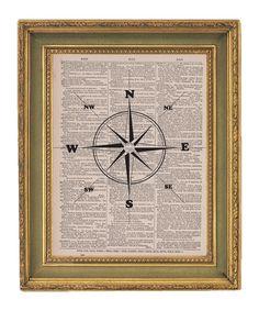 Boys room -- Compass Print Nautical Art -Vintage  Dictionary Print- 8x10. $6.95, via Etsy.