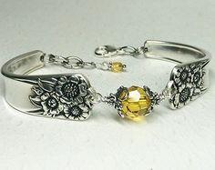 Sunflower Spoon Bracelet, Yellow Swarovski Crystal, Spoon Jewelry - 'April' 1950
