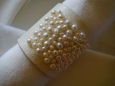 Pearl Leather Napkin Rings