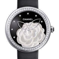 Chanel Mademoiselle Prive Camelia Black Onyx Diamond Dial 18 Carat... ($28,860) ❤ liked on Polyvore featuring jewelry, watches, black onyx jewelry, chanel, analog watches, diamond dial watches and diamond watches