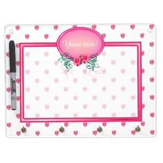 Pink Frame Monogram Rose Dry Erase Boards - This dry erase board has lots of pink roses all over. It has a pink monogram frame with roses and green foliage in which to place your name and initial. Keep this board around to remind you of important dates and events, or use it as a to do or shopping list.