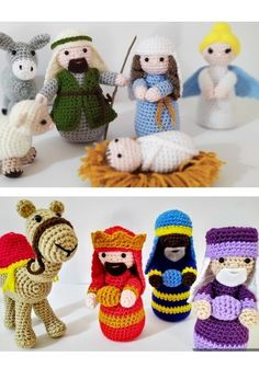 Crochet Bows, Knit Crochet, Amigurumi Toys, Christmas Knitting, Crochet Blanket Patterns, Nativity, Stuffed Animals, Cute Babies, Christmas Decorations