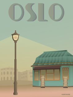 Oslo poster by ViSSEVASSE with newspaper shop. Walking down Karl Johan from Stortinget to The Royal Palace you might notice a wonderful copper roofed newsstand. Kiosk, Traveller's Tales, Norway Oslo, Art Deco Illustration, Amsterdam Travel, Scandinavian Art, Vintage Travel Posters, Retro Posters, Europe