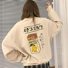 "HOT PRICES FROM ALI - Buy ""Qlychee Streetwear Casual Japanese Milk Hoodies Sweatshirts Long Sleeve Crew Neck Autumn Casual Pullover Sweatshirt Female Tops"" from category ""Women's Clothing & Accessories"" for only USD. Tumblr Outfits, Grunge Outfits, Fashion Outfits, Style Fashion, Fashion Photo, Stylish Outfits, Girl Fashion, Sweatshirt Outfit, Aesthetic Fashion"
