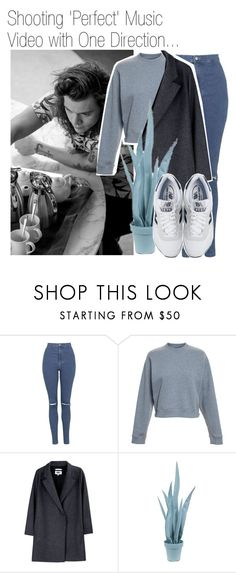 """Shooting 'Perfect' Music Video with One Direction..."" by nika-brel ❤ liked on Polyvore featuring Topshop, Acne Studios, MM6 Maison Margiela, Wandschappen, New Balance, OneDirection, harrystyles and 506"