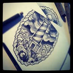 #tattoo #flash #watercolor #beacon #lighthouse