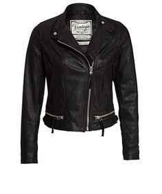 Black (Black) Black Real Leather Zip Front Biker Jacket | 258414901 | New Look