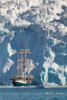Tall ship in the icy waters of the Fuglesongen glacier, Svalbard, Norway   Patrick J Endres