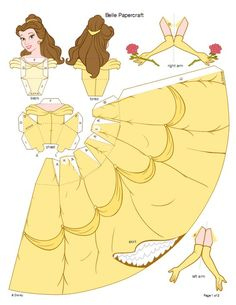 Disney 3d paper doll pattern - these could work as a cake topper!:
