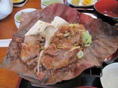 Houba yaki miso (tofu, Hida beef, and vegetables cooked on a magnolia leaf)  Hiiragi, Shirakawago, Japan  (Click through for review)