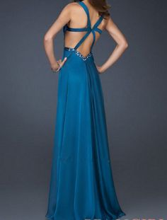 Hot Sale Chiffon Spaghetti Strap V Neck Crystal Backless Long Formal Evening Dresses 2013 Prom gown LF15148