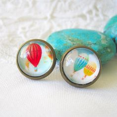 Hot Air Balloon Mismatched Antique Brass Post Earrings