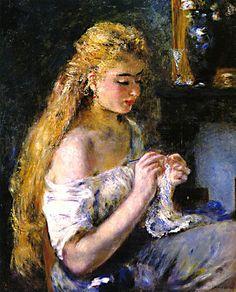 girl crocheting Renoir painting, via Flickr.