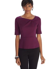 Fully lined raspberry princess seamed top with asymmetrical fold-over neckline, set-in half length vented sleeves, and seam at natural waist. 64% rayon/31% nylon/5% spandex, by White House Black Market, $49.99 (on sale from $84.00)