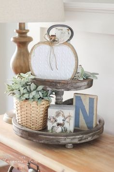 DIY Farmhouse Wooden Pumpkin - perfect for fall decor on your mantel or in a vignette. Love this display with a tiered tray! Diy Fall Wreath, Burlap Wreath, Fall Wreaths, Pumpkin Decorating, Decorating Blogs, Diy Wall Decor, Diy Home Decor, Wooden Box Centerpiece, Centerpieces