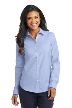 Port Authority Ladies SuperPro ™ Oxford Shirt. L658 Oxford Blue