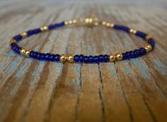 Tiny Delicate Navy Blue and Gold Beaded Friendship Bracelet
