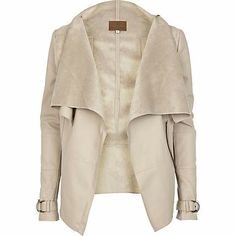 http://eu.riverisland.com/women/coats--jackets/jackets/Beige-leather-look-waterfall-jacket-638649