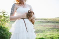 we didn't leave the farm hens out! Bride holding brown hen. nik & chris | an eco-friendly, handmade coastal welsh wedding » Home