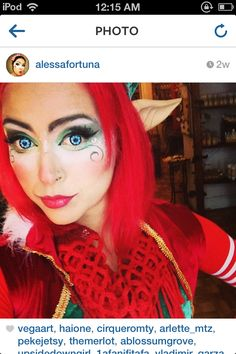 Süßes Elfen Make-up! Elf Make Up, Christmas Elf Costume, Christmas Makeup, Laura Geller, Cheer Makeup, Fun Makeup, Elf Face, Elf Cosplay, Elf Makeup Dupes