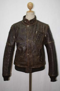 Vtg HEIN GERICKE Leather Motorcycle Jacket CAFE RACER Medium 38