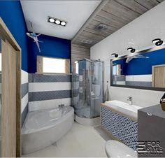 łazienka w stylu morskim, granat, szarość, biel, duża umywalka, prysznic, wanna…