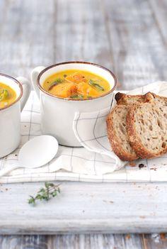 Roasted Squash Soup with Jewel Yams & Chard