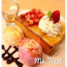 Strawberry honey toast by Mr.toast at Chiangmai