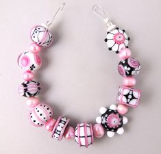 Dalmations in Tutu with Pearls. Lampwork beads by Corina Tettinger / Corinabeads