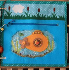 Yellow submarine and zips quiet book page. подлодка