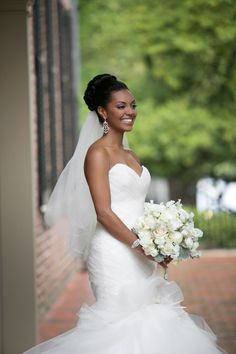 This Carolina Inn wedding from Events by La Fete is classic right down to it's very core. The stunning Bride donning a fluffy sweetheart dress from Alexia's Bridal Boutique , heavenly bouquets o. Black Wedding Hairstyles, Bride Hairstyles, Wedding Looks, Bridal Looks, African American Weddings, Black Bride, Bride Gowns, Wedding Hair And Makeup, Wedding Nails