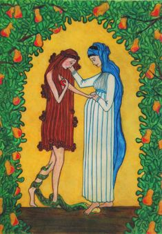 Love this picture of Eve's shame & brokenness, the devil pulling at her leg, but Mary offering comfort because she knows God is stronger than our mistakes, the devil crushed beneath her feet because Jesus is going to bring redemption.