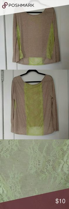 NWOT American Eagle Lace Inlay Shirt Super cute, lightweight shirt, perfect for any season. The soft beige shirt is accented by lime green lace inlays on the sides and back! Never been worn! American Eagle Outfitters Tops Tees - Long Sleeve
