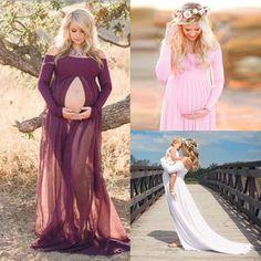 Mixed Chiffon Maternity Photography Props Long Pregnancy Dress Pregnant Clothes #ebay #Fashion