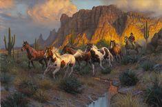 Legends of the West by Mark Keathely ~ wild horses cowboy desert southwest