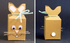 Janas Bastelwelt - Unabhängige Stampin' Up! Demonstratorin: Anleitung: Osterhasen-Verpackung Bunny Crafts, Easter Crafts, Crafts For Kids, Easter Ideas, Envelope Punch Board Projects, Wrapping Gift, Box Bunny, Staff Gifts, Rena