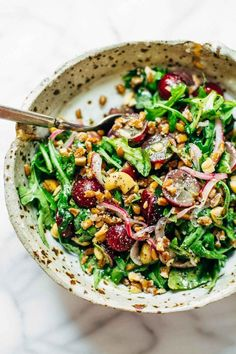 Arugula Salad with Grapes and Black Pepper Vinaigrette