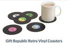 Having nostalgic moments of the good old days or want to have a piece of the past without spending too much? Get these Vinyl Coasters that look like the real thing. Use them with your favourite or even a retro mug, cup or glass.    #Retro #Vinyl #Coasters #iwtat #gifts #kitchen #drinks