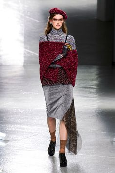 Rodarte; Beret, shawl, turtleneck and gloves...with a pair of dark denim jeans and black boots!! Like.