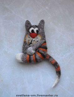 """Купить Валяная брошь """"Кот рыжий 2"""" - валяная брошь, коты, авторские украшения"""