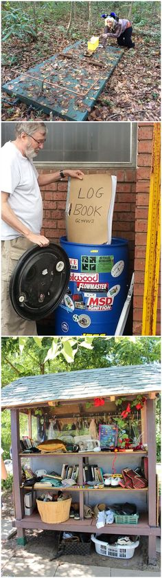 Supersized geocaches!  No worries about room for trackables or trading swag in these caches.  What's the largest geocache you've ever found?  (pics from the Geocaching Blog stitched together by I.B. Geocaching & pinned to Creative Geocache Containers - pinterest.com/islandbuttons/creative-geocache-containers/)  #IBGCp