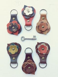 Quite simply the prettiest, most perfect key fob you will ever hold in your hands. Made in quality leather with soft leather ragglebloom decoration. It is the perfect gift to give or to keep. Leather Gifts, Leather Bow, Leather Keychain, Leather Bookmarks, Closed Toe Sandals, Long Toes, Key Fobs, Leather Accessories, Leather Working