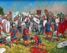 The Battle of Vercellae 101 BC was the Roman victory of Consul Gaius Marius over the invading Germanic Cimbri tribe near the settlement of Vercellae in Cisalpine Gaul. ~ art by Igor Dzis
